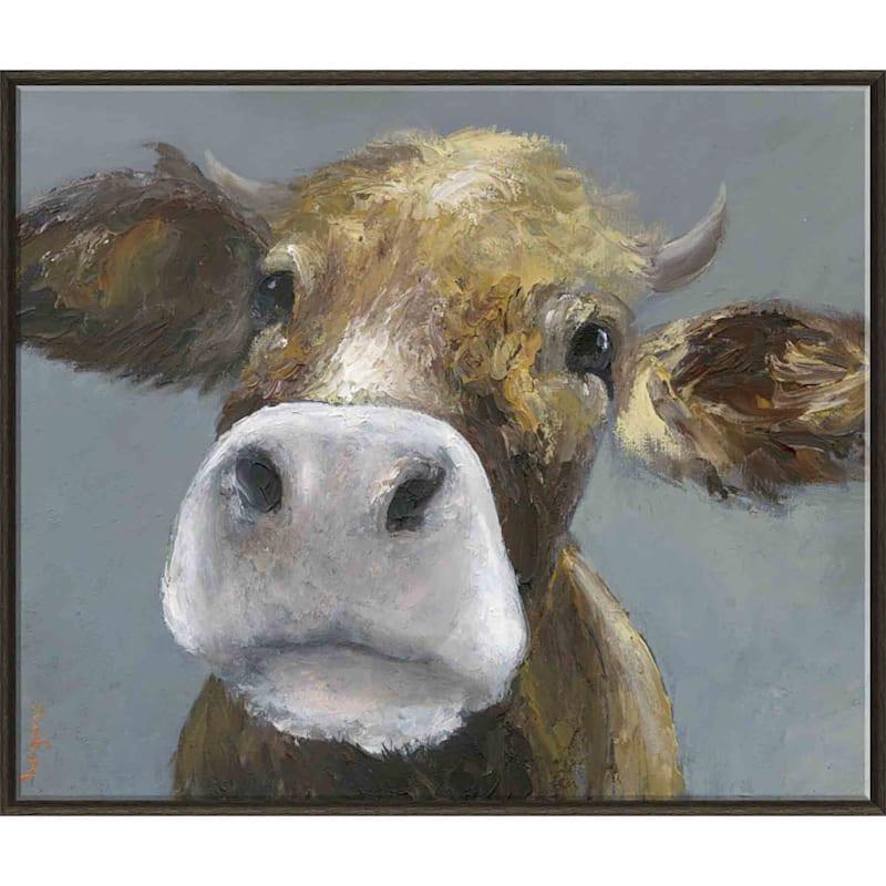 30X36 Moo Face Cow Framed Print On Canvas
