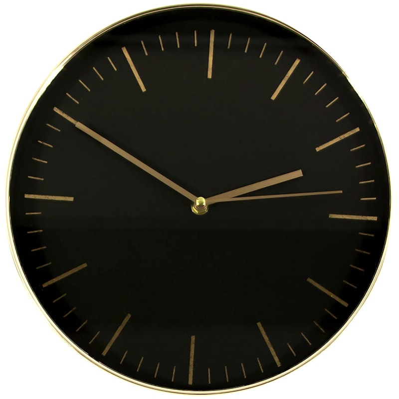 Black Wall Clock with Gold Ticks, 12""