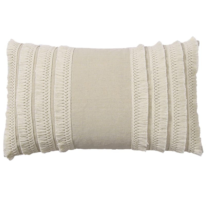 Lillian White Pillow With Tassels 22x13