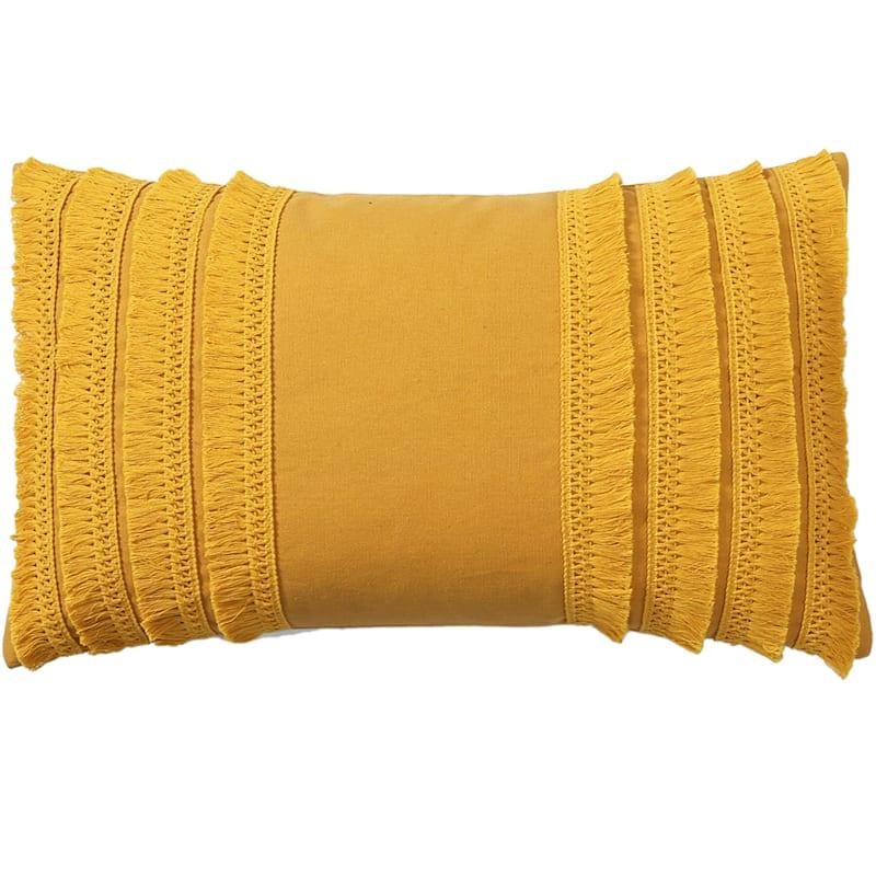 Lillian Yellow Pillow with Tassels 22x13