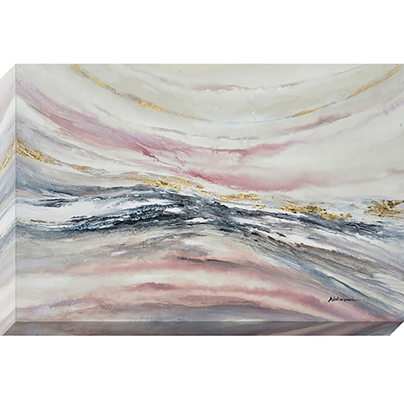 40X60 Soft Pink Abstract Wave Enhanced Canvas