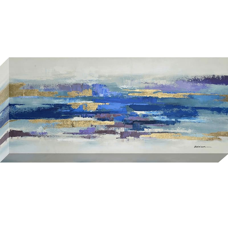 32X7X0 Horizontal Blue Patched And Touch Of Gold Enhanced Canvas