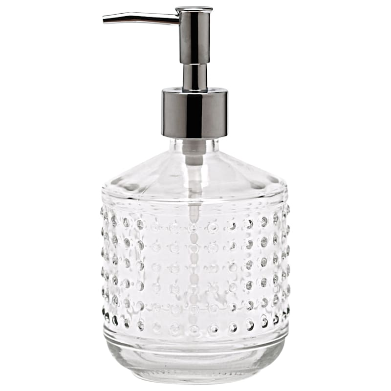 18oz Clear Hobnail Soap Pump