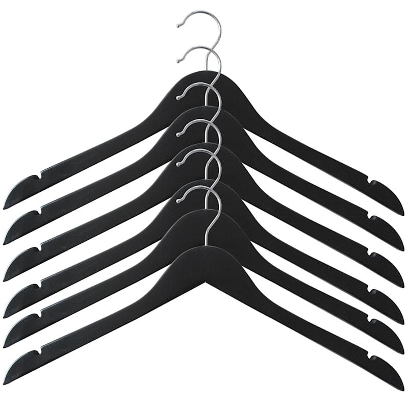 Wood Black 5-Piece Shirt Hanger