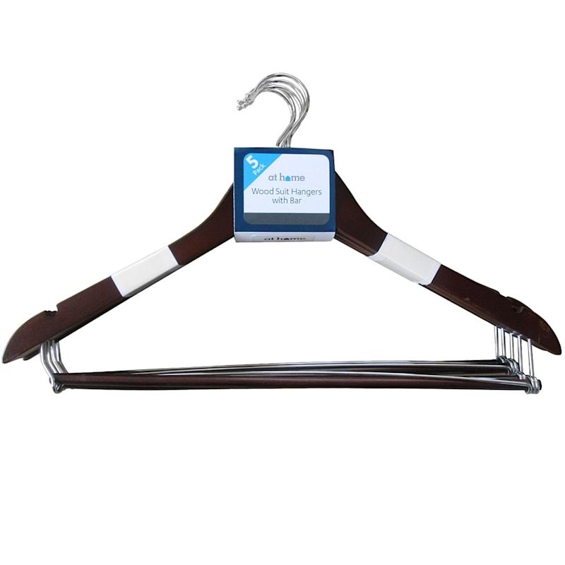 Wood Espresso 5-Piece Suit Hanger/Bar