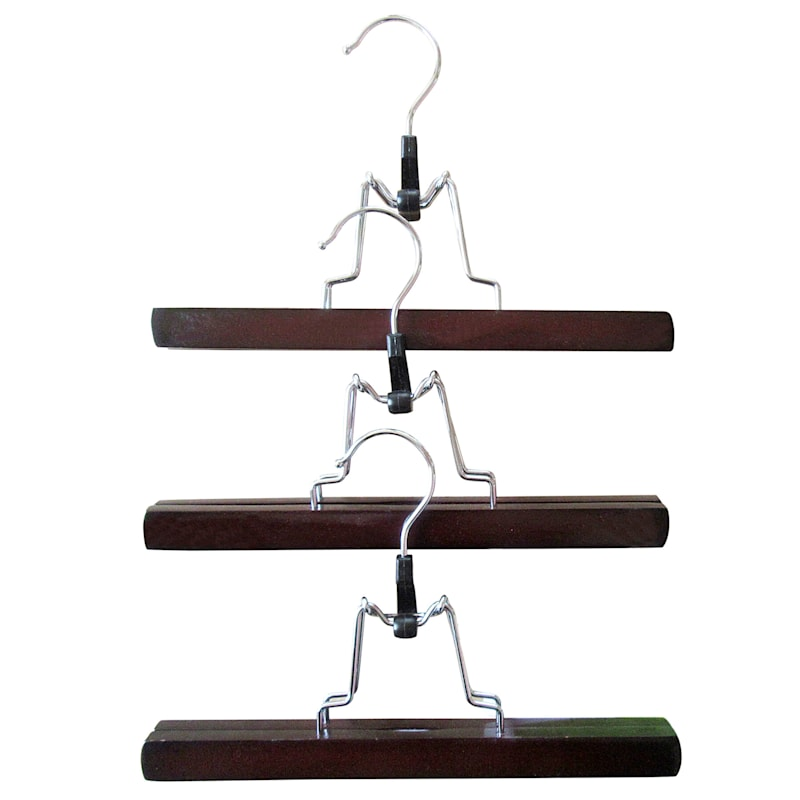 Wood Expresso 3-Piece Pant Hanger/Clamp