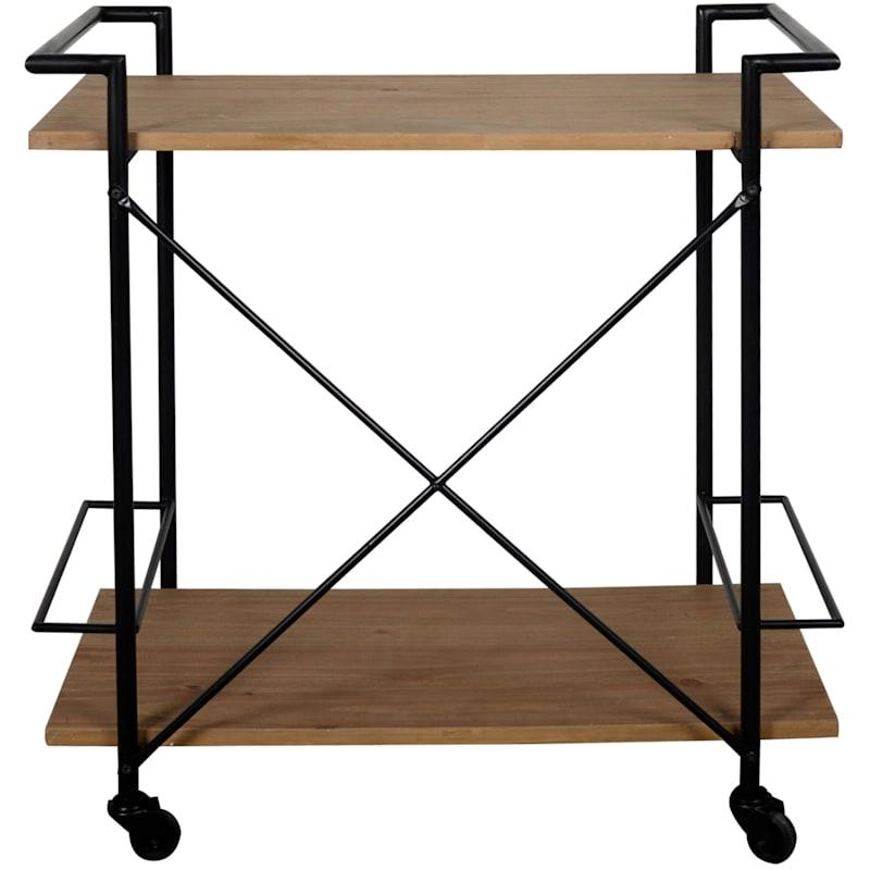 Gatherings Wood Bar Cart Metal Wine Rack With Handles