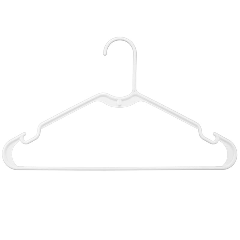 Plastic Tubular Hangers Set Of 10 White