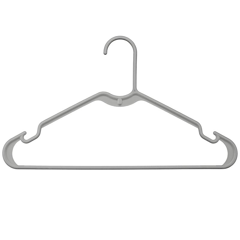 Plastic Tubular Hangers Set Of 10 Grey