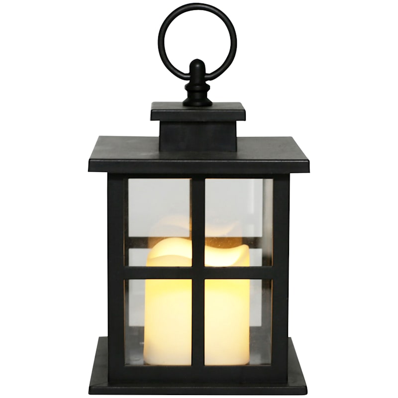 5X7 Led Plastic Lantern With 6 Hour Timer Black
