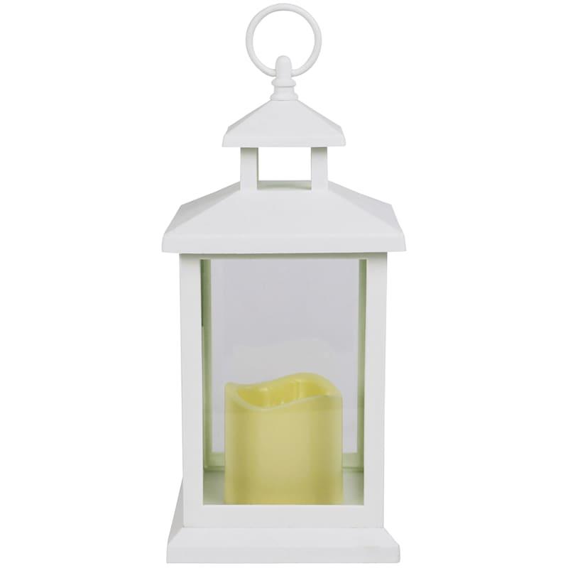 6X12 Led Plastic Lantern With 6 Hour Timer White