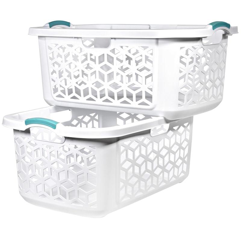 Home Logic 2.0 Bu. Stacking Laundry Basket White