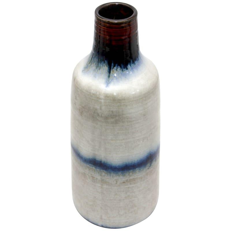 11.5in. Ceramic Blue White Glazed Bottle Vase