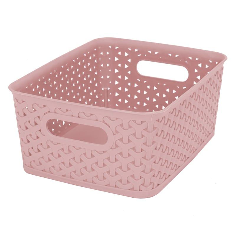 8X6X2.5 Pe Weave Basket Blush