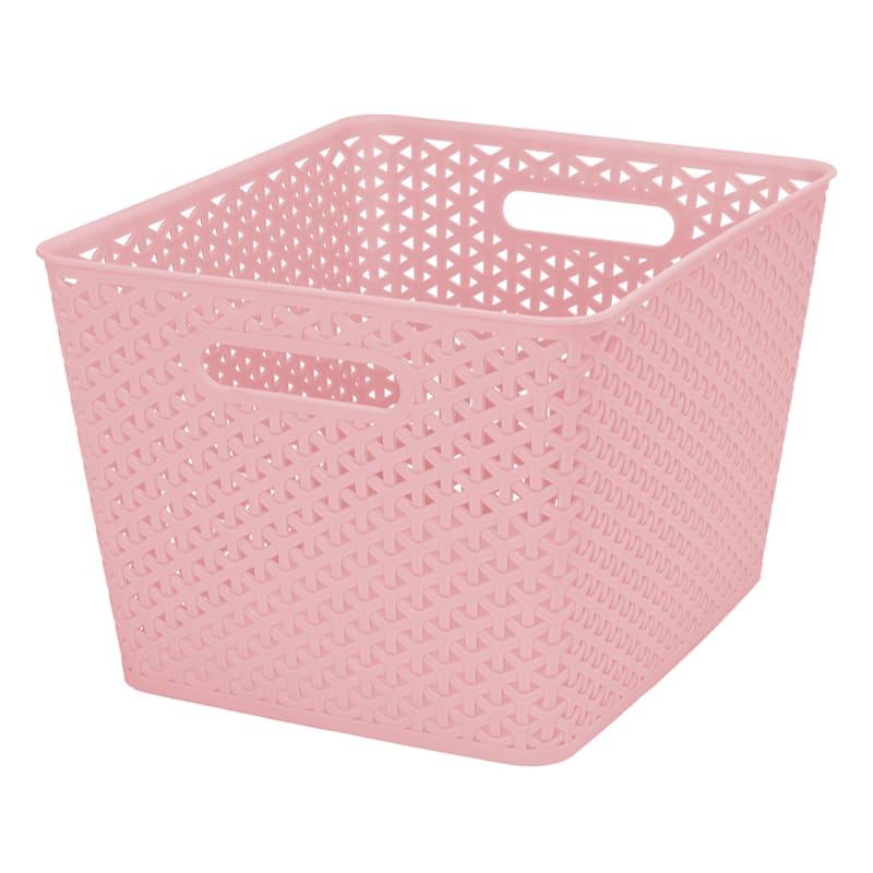 13.75X11X9 Pe Weave Basket Blush