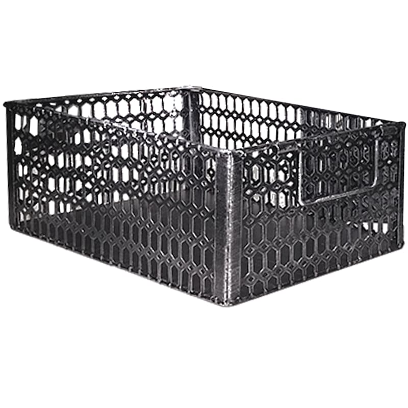 Rectangle Chrome Hex Cut Metal Basket L