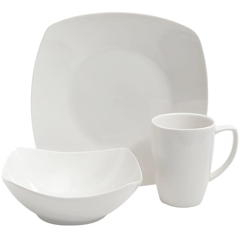 Zen Buffetware 12-Piece Square Dinnerware Set White Fine Ceramic