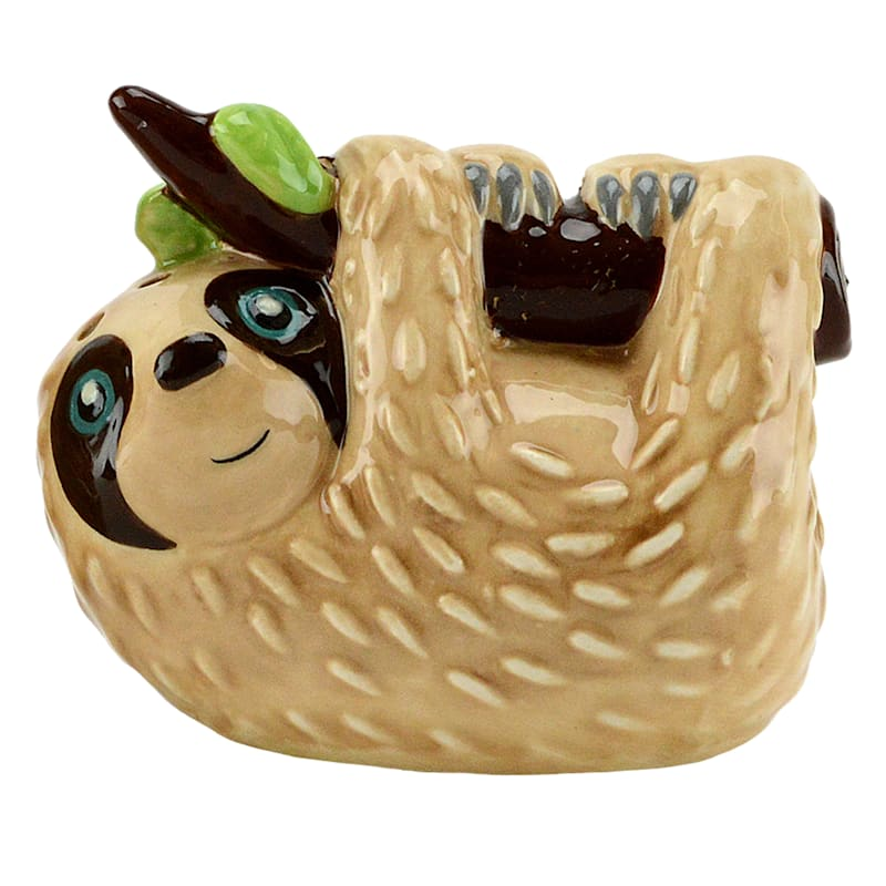 Figural Sloth Salt/Pepper Set 2 Acetate Gift Box