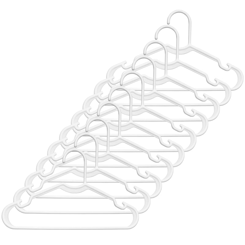 Kids Plastic Tubular Hangers Set Of 10 White