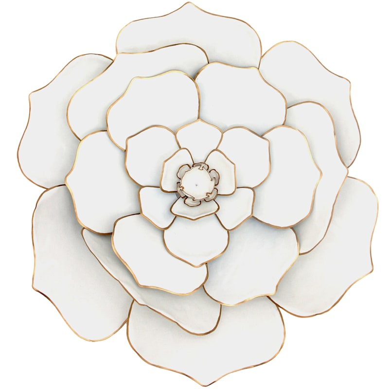 24in. White/Gold Metal Flower Wall Decor