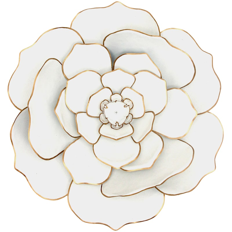 20in. White/Gold Metal Flower Wall Decor