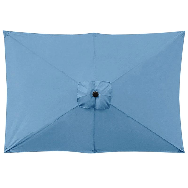 Spa Blue Rectangular Steel Outdoor Umbrella, 6.5x10