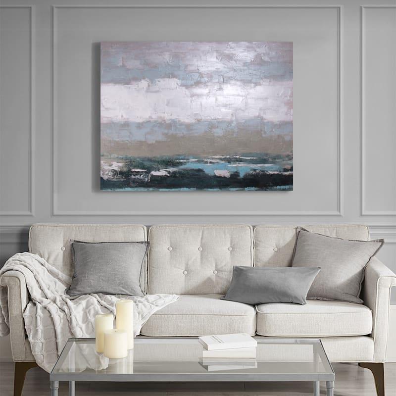 47X35 Coastal Strom Embellished Canvas Art