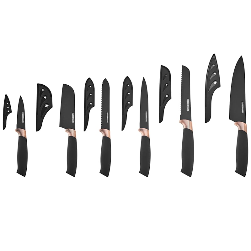 Farberware 12-Piece Black/Copper Knife Set
