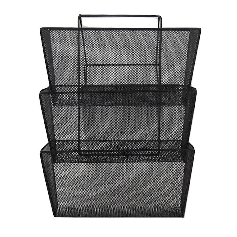 Metal Mesh 3-Tier Wall Mount File Black