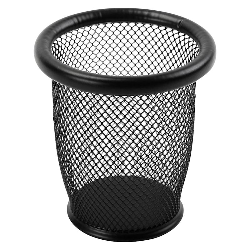 Metal Mesh Round Pen Cup Black