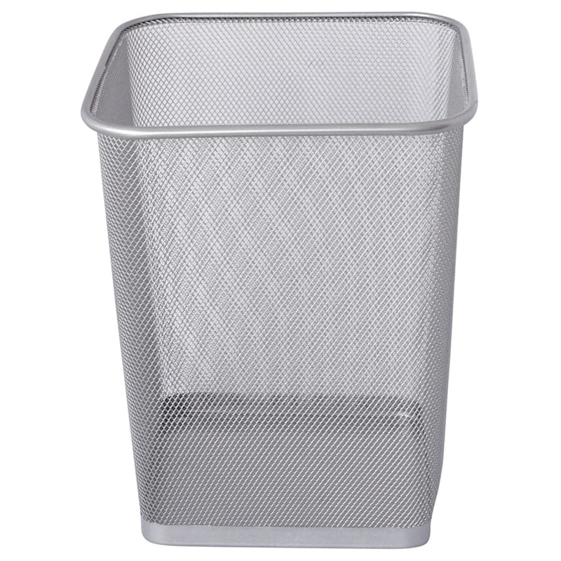 Metal Mesh Square Waste Can Silver