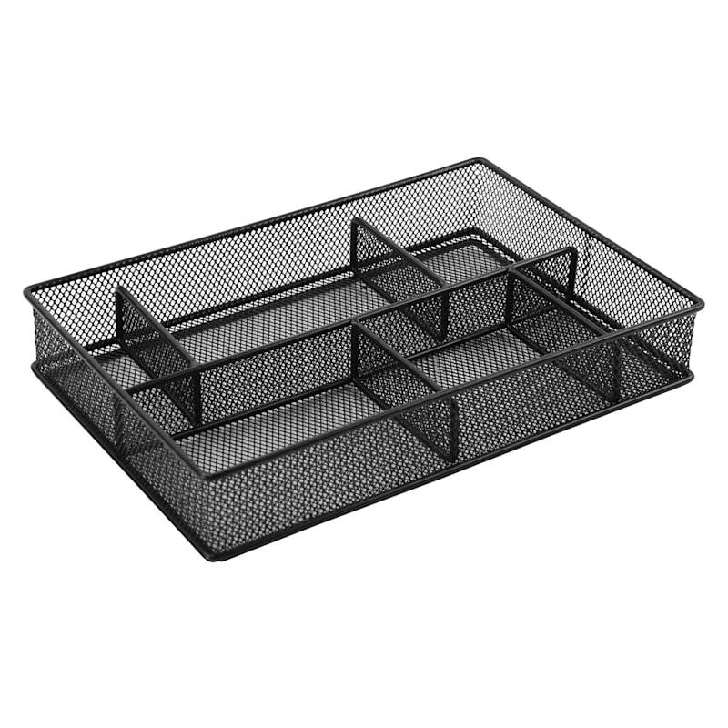 Metal 6 Compartment Drawer Organizer Black