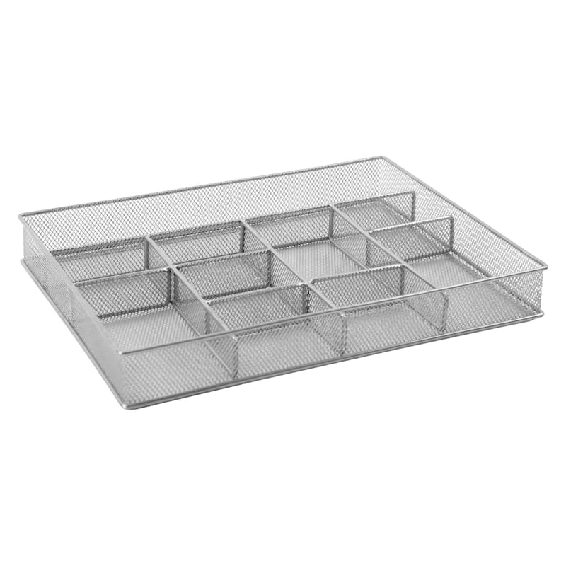 Metal 10 Compartment Drawer Organizer Silver