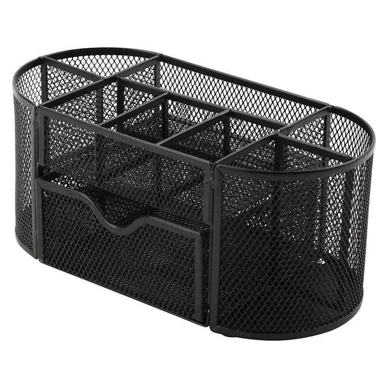 Metal Mesh Oval 9 Section Desk Organizer Black