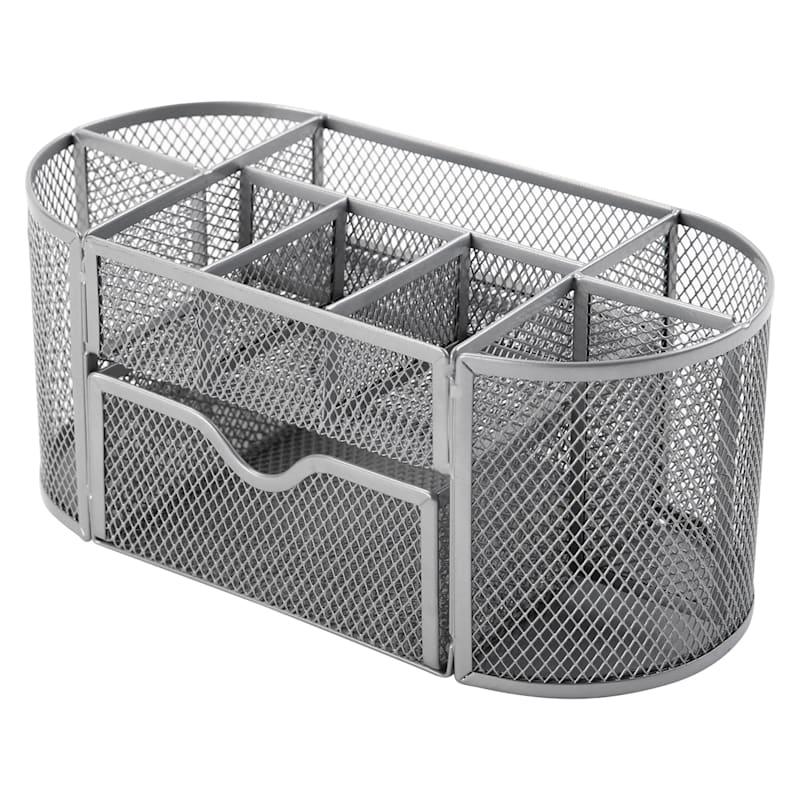 Metal Mesh Oval 9 Section Desk Organizer Silver