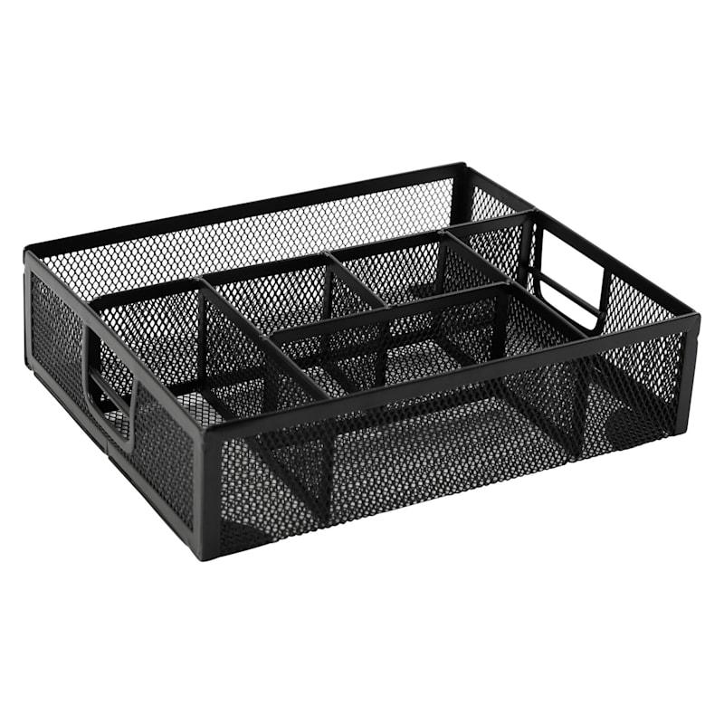 Metal Mesh 7 Compartment Drawer Organizer Black