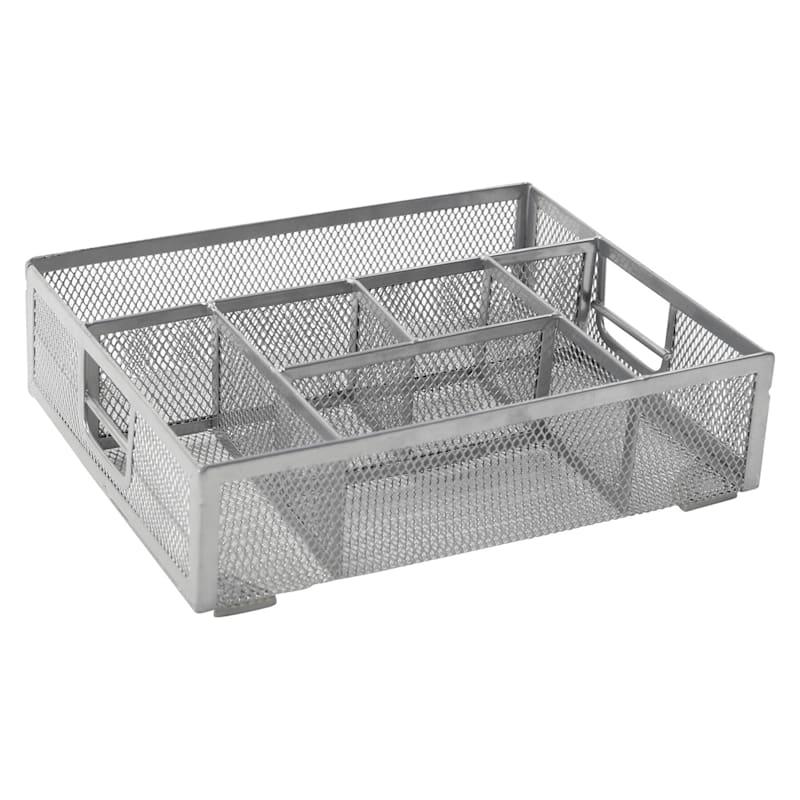 Metal Mesh 7 Compartment Drawer Organizer Silver