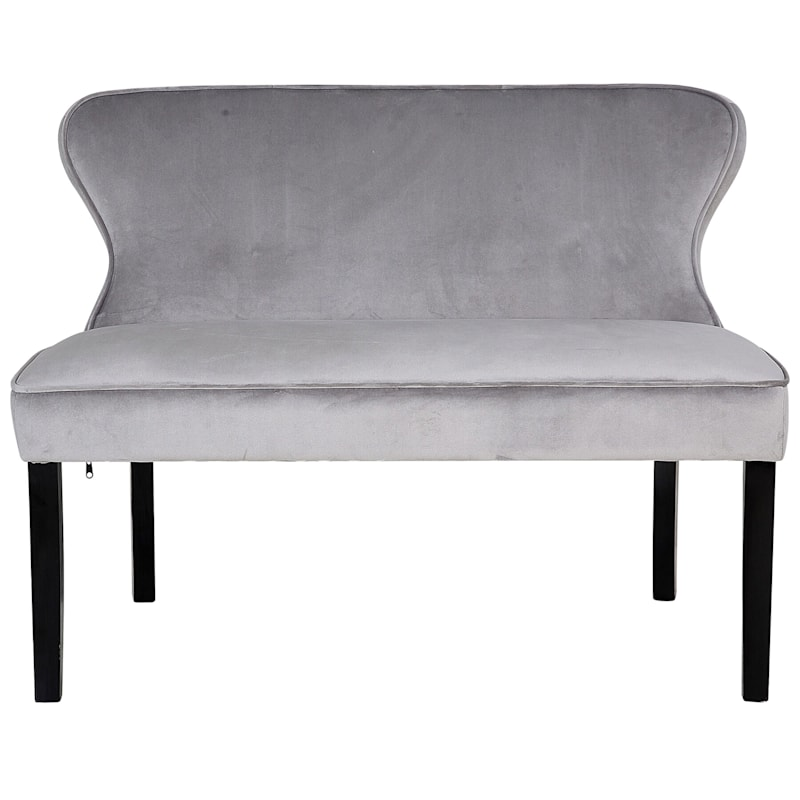 Regal Grey Linen Curved Back Settee At Home