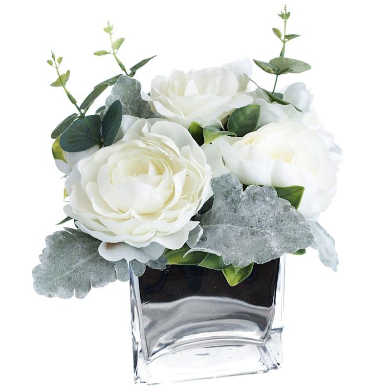 Faux Ranunculus And Hydrangea In Mercury Glass