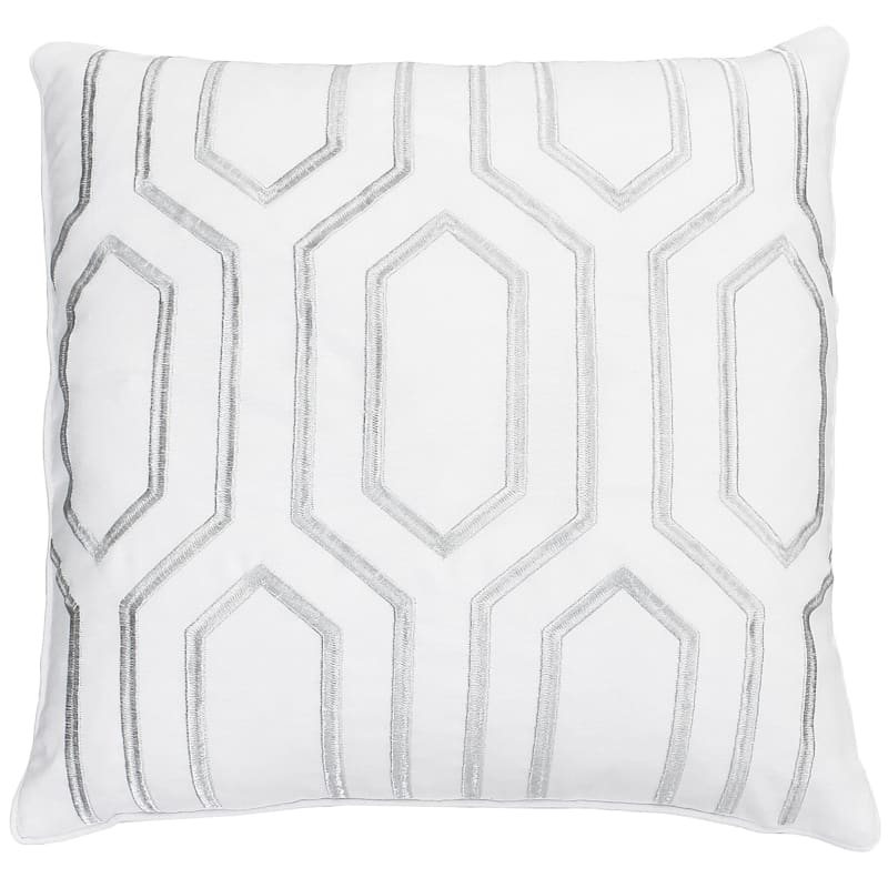 Renzo White Embroidered Pillow 20in.