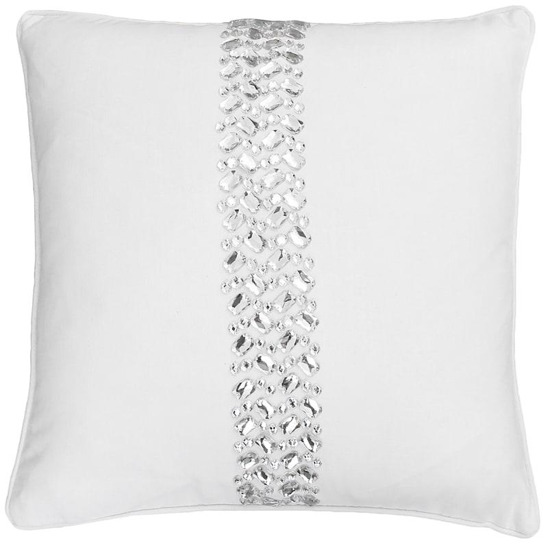 White Clarence Rhinestone Stripe Pillow 18in.