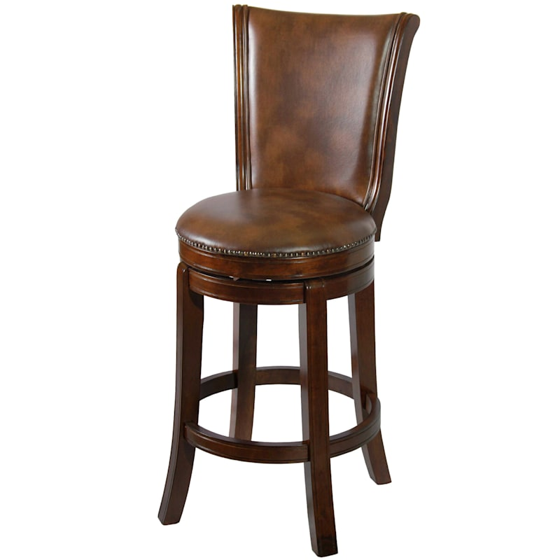 Montreal Wood Barstool with Upholstered Seat & Nailhead Trim