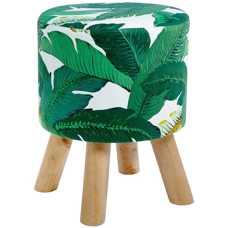 Arcadia Palm Leaf Print with Natural Wood Leg Stool
