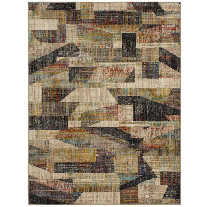 (A403) Navarre Modern Geometric Multi-Color Rug, 7x10