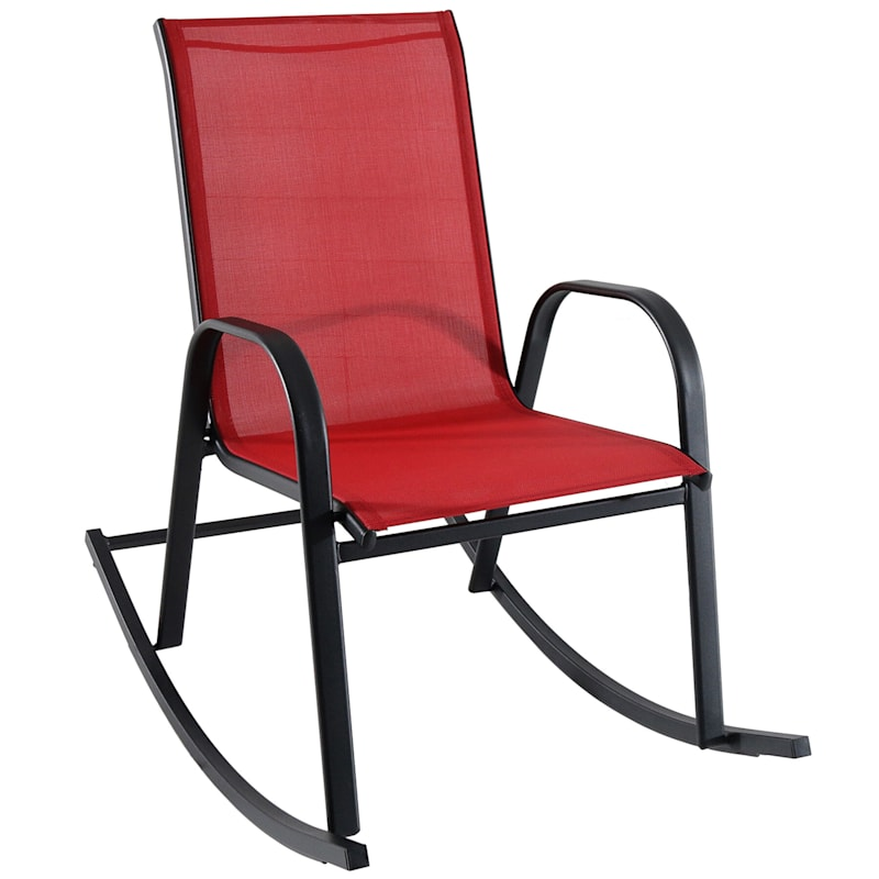 Red Outdoor Steel Sling Rocker