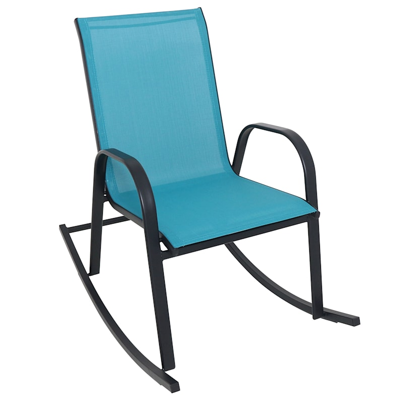 Stackable Sling Rocking Chair, Teal/Black