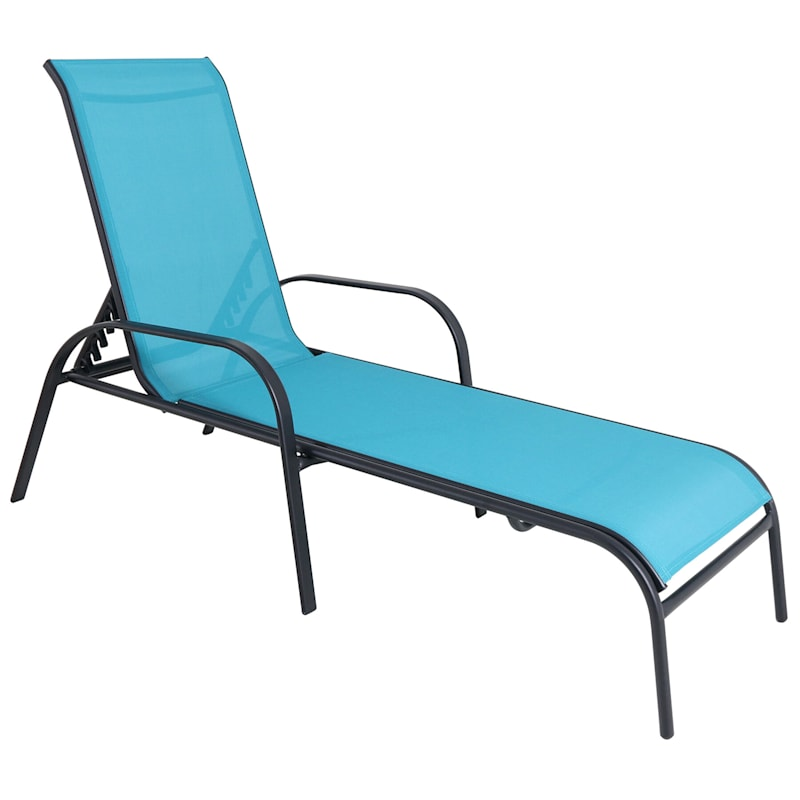 Steel-Frame Stacking Sling Chaise Lounge, Teal/Black
