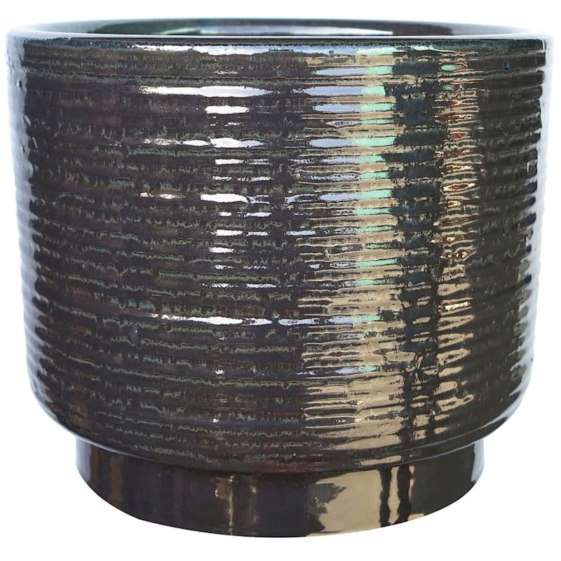 Cylinder Ceramic Planter 16.5in. Black