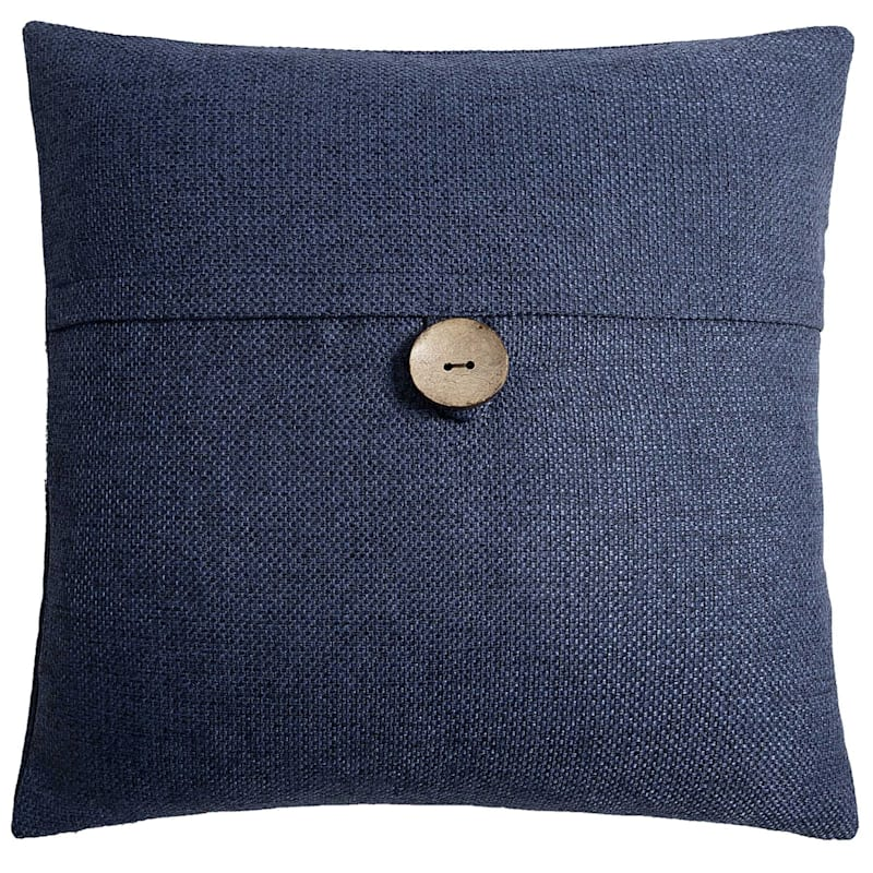 Clayton Navy Feather Filled Coconut Button Pillow 20X20