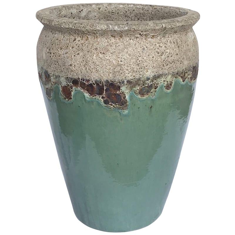 """Ceramic Acadia Planter, 19.7"""", White/Aqua"""